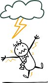 Cartoon man is hitted by a thunder