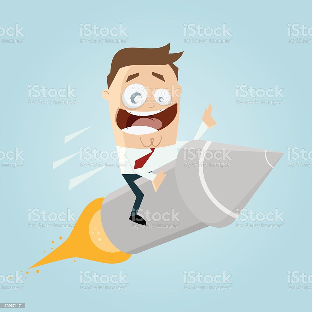 cartoon man is riding on a rocket vector art illustration