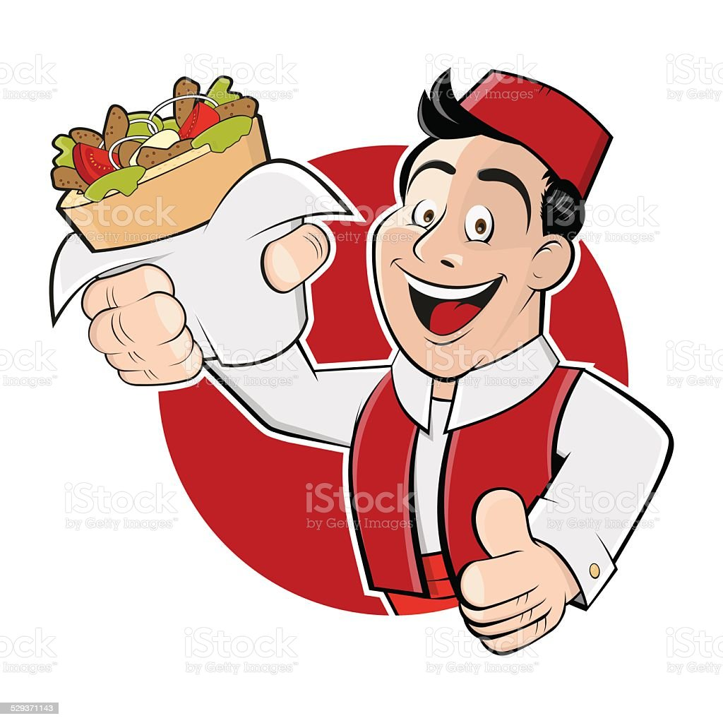 cartoon man is serving doner vector art illustration