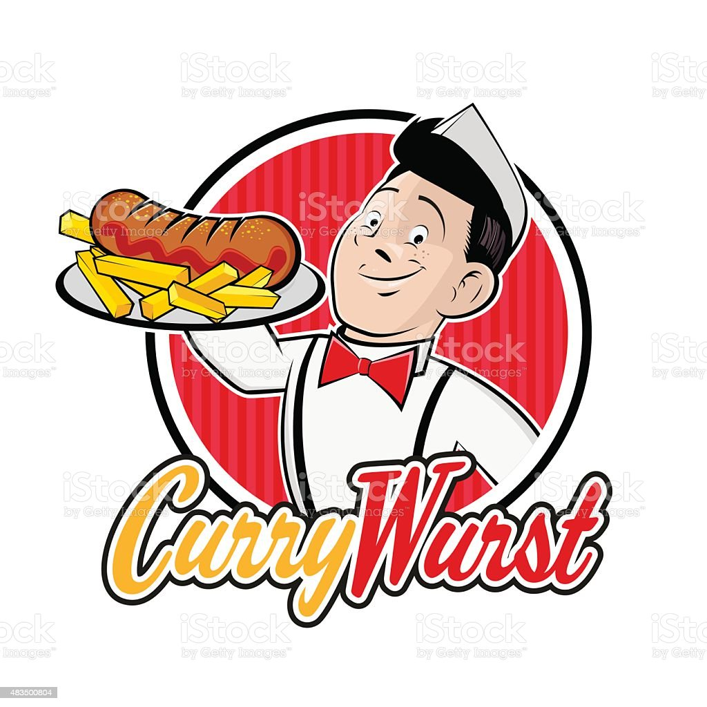cartoon man is serving german currywurst vector art illustration
