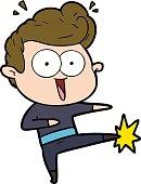 cartoon man kung fu kicking