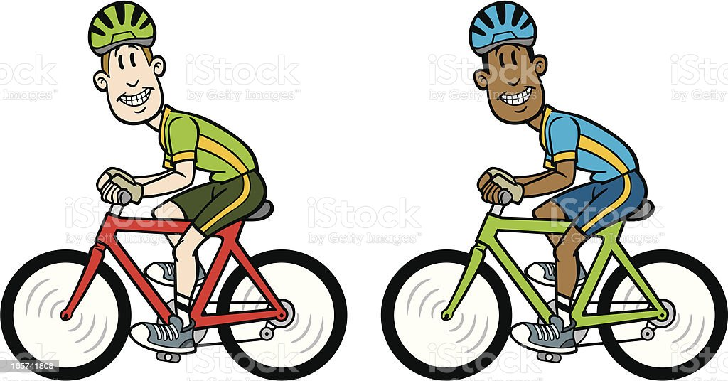 Comic Mann Auf Fahrrad Vektor Illustration 165741808 Istock