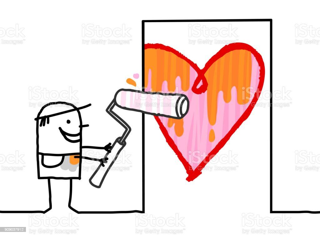Adam Boyama Kapi Buyuk Bir Kalp Karikatur Stok Vektor Sanati