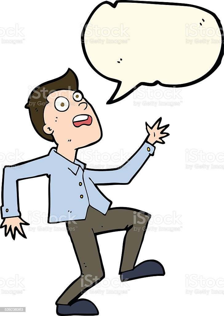 Hombre de historieta con pensamiento de discurso pánico ilustración de hombre de historieta con pensamiento de discurso pánico y más banco de imágenes de adulto libre de derechos
