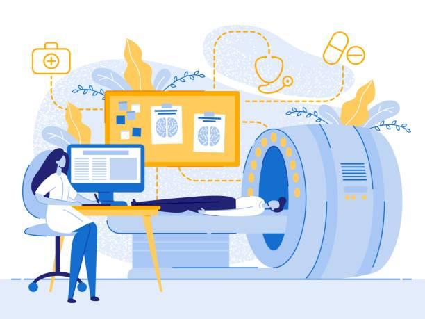 ilustraciones, imágenes clip art, dibujos animados e iconos de stock de cartoon man paciente rmi mujer doctor examen - oncología
