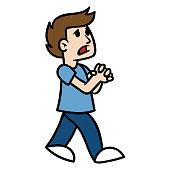 Cartoon Man Pleading Vector Illustration