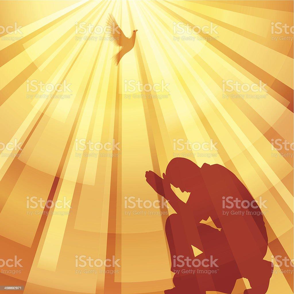 A cartoon man praying and the sun shining upon him royalty-free stock vector art