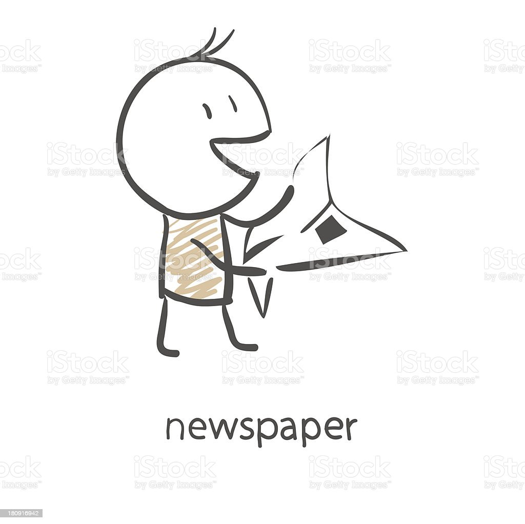 Cartoon man reading a newspaper royalty-free stock vector art