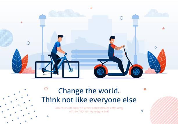 illustrazioni stock, clip art, cartoni animati e icone di tendenza di cartoon man ride bicycle electric bike scooter - monopattino elettrico