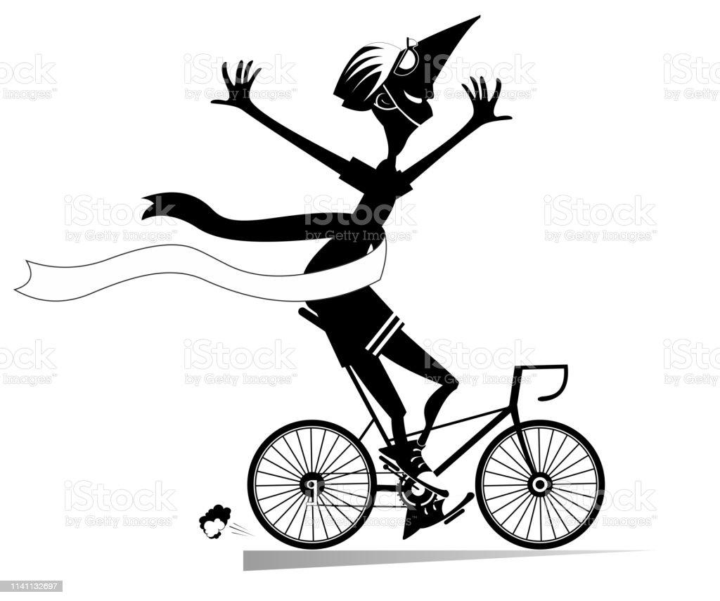 Homme De Dessin Animé Chevauche Un Vélo Et Gagne