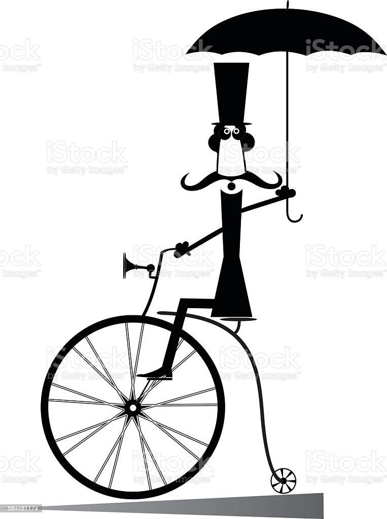Cartoon man rides a bike vector art illustration