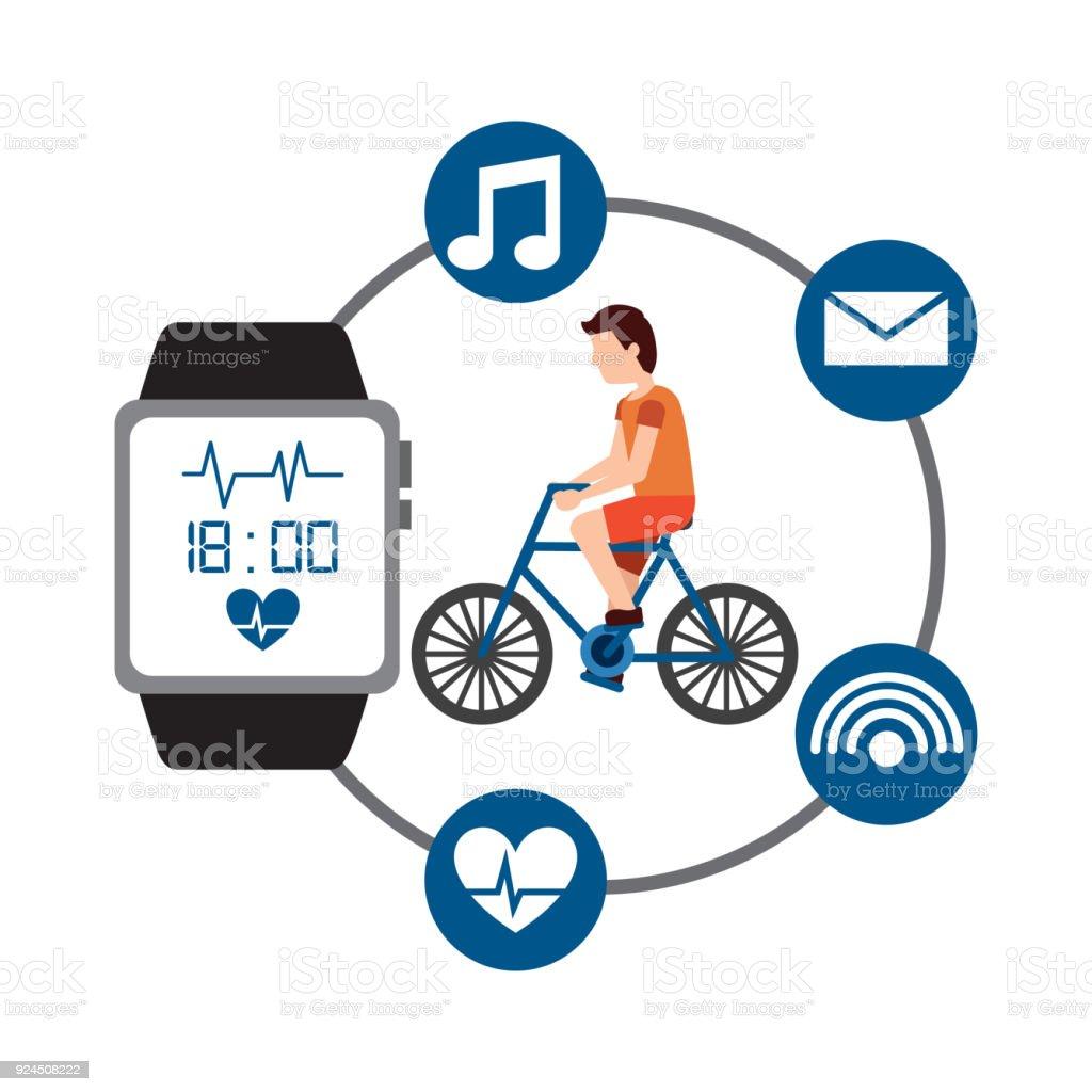 Cartoon Man Riding Bike Sport Activity Wearable Technology Health Immagini Vettoriali Stock E Altre Immagini Di Abbigliamento Istock