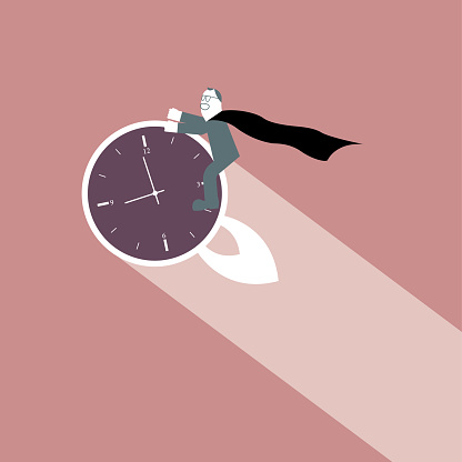 Cartoon man riding on the clock.