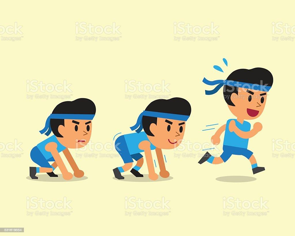 Cartoon man running step vector art illustration