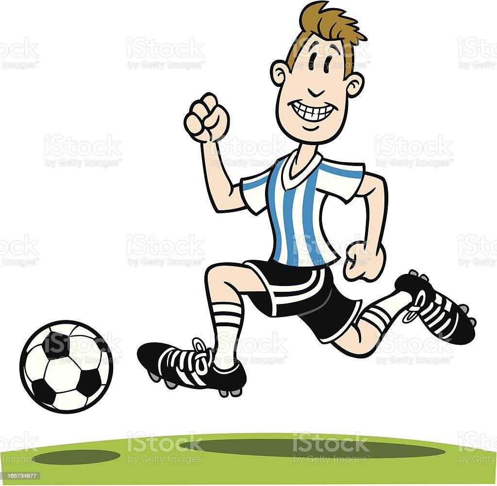 Cartoon Man Running With Soccer Ball vector art illustration