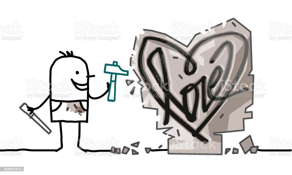 Vetores De Desenho Animado Homem Esculpindo Um Coracao De Pedra E
