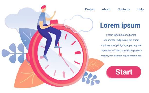 Cartoon Man Sit Clock Stopwatch Project Time Plan