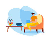 Cartoon Man Sit on Couch with Notebook, Internet Surfing Vector Illustration. Social Media Online Communication, Website Browsing, Work from Home. Male Freelancer Relax Indoors Entertainment