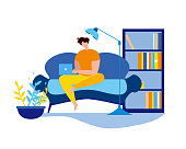 Cartoon Man Sit on Couch with Notebook Type. Freelancer Work Vector Illustration. Living Room Interior, Lamp Sofa and Bookcase. Internet Surfing, Social Media Online Communication, Home Worker