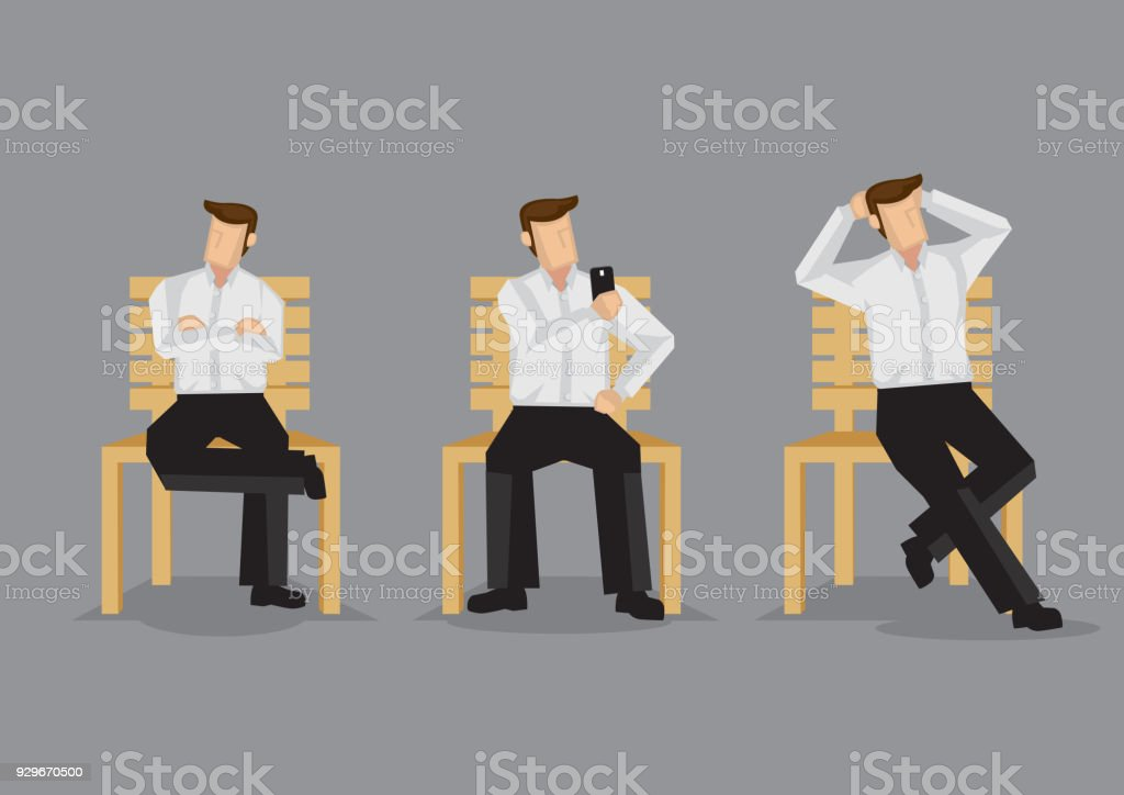 Cartoon Man Sitting on Bench Vector Illustration vector art illustration