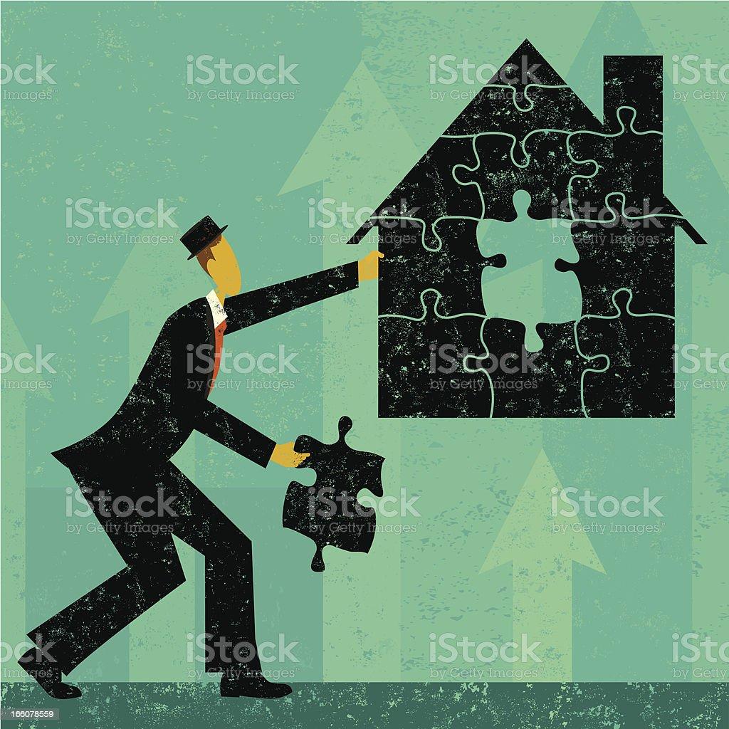 Para resolver la crisis de los créditos hipotecarios de inicio - ilustración de arte vectorial