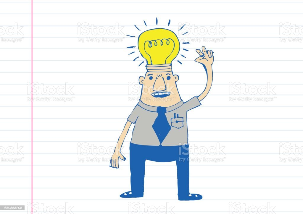 Cartoon man thinking style illustration royalty-free cartoon man thinking style illustration stock vector art & more images of achievement