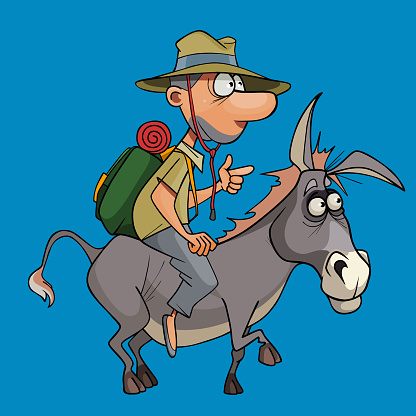 cartoon man tourist with a backpack and a hat riding a donkey