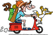 Cartoon man traveling on a motorcycle with his dog and cat vector illustration