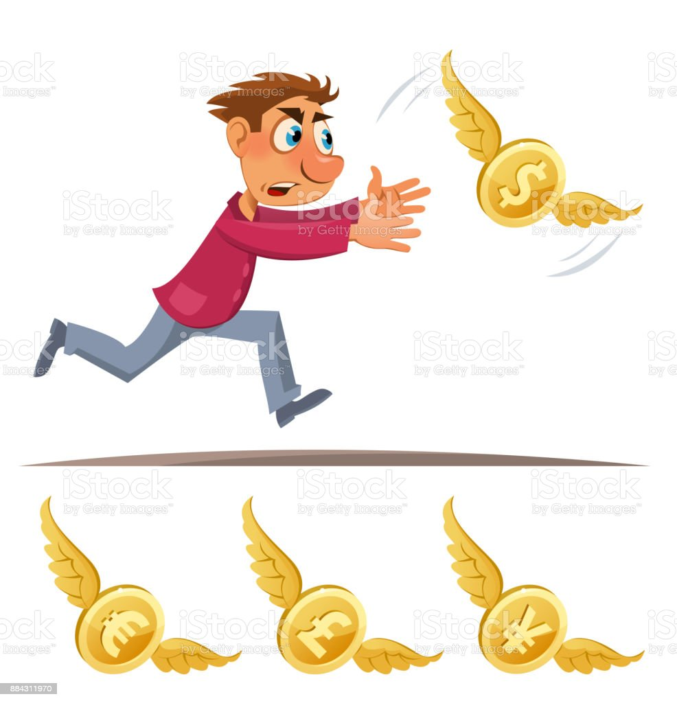 Cartoon Man Trying To Catch Symbols Of Different Currencies Dollar