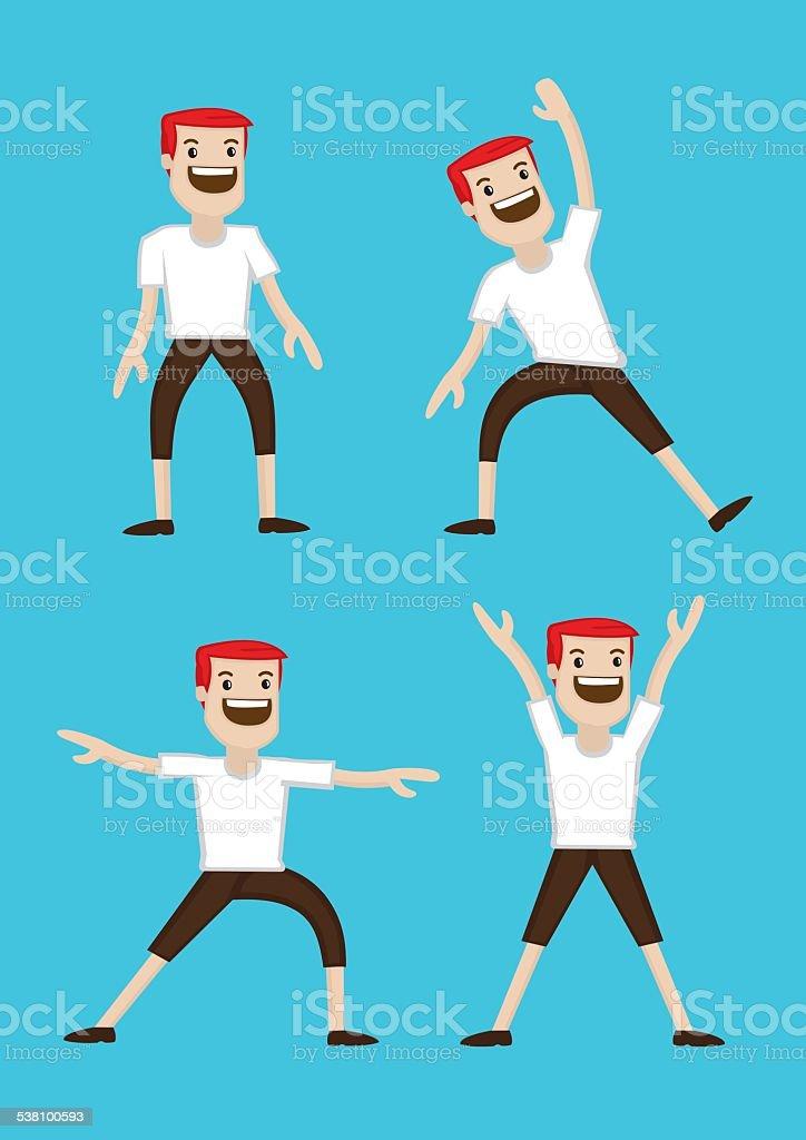 Cartoon Man Warm-up Stretching Exercises vector art illustration