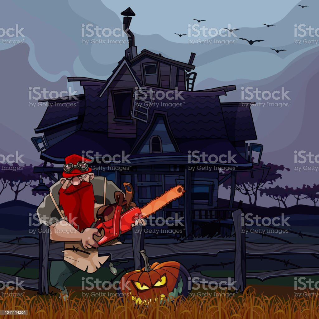 cartoon man with a chainsaw and a Halloween pumpkin next to the house vector art illustration
