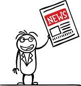 Cartoon man with a newspaper