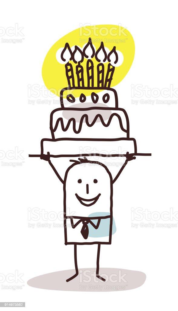 Dessin animé homme avec gâteau d'anniversaire - Illustration vectorielle
