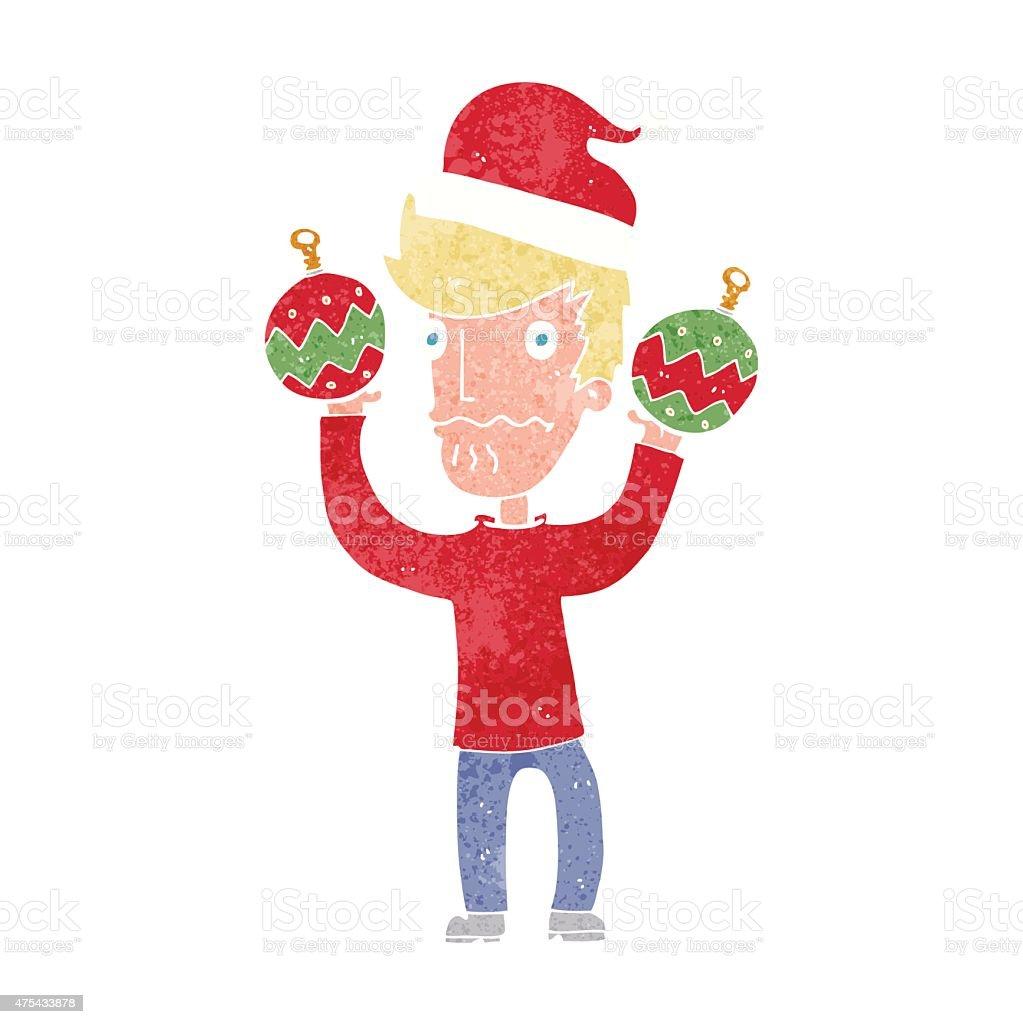 Cartoon Man With Christmas Baubles Stock Illustration
