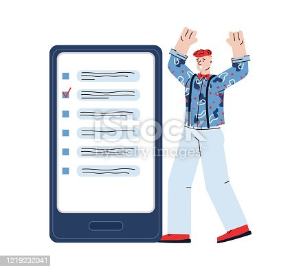 istock Cartoon man with deadline stress looking at unfinished business list 1219232041