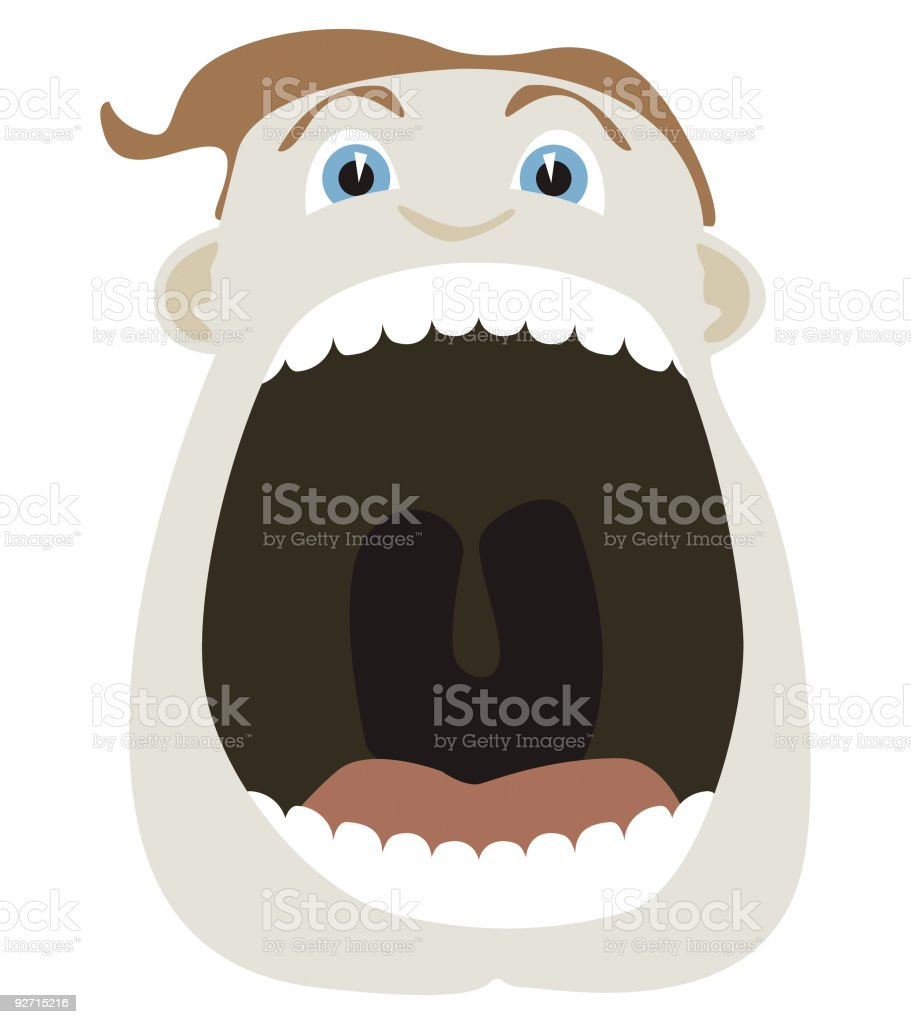 Cartoon man with his mouth wide open vector art illustration