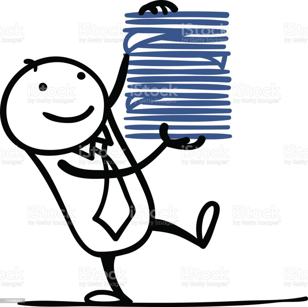 Cartoon man with lots of documents royalty-free stock vector art