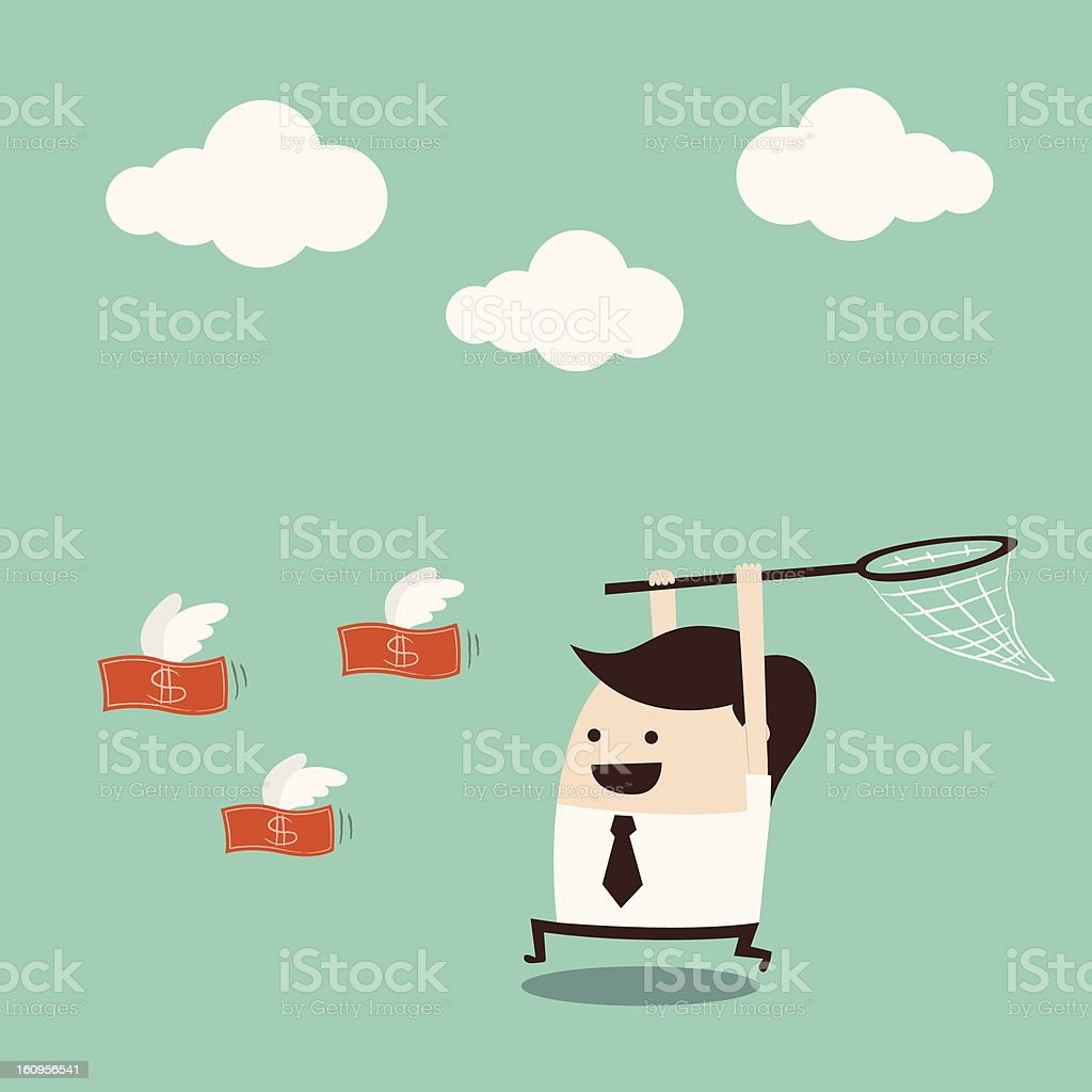 Cartoon man with net runs to capture flying, red money royalty-free cartoon man with net runs to capture flying red money stock vector art & more images of animal body part