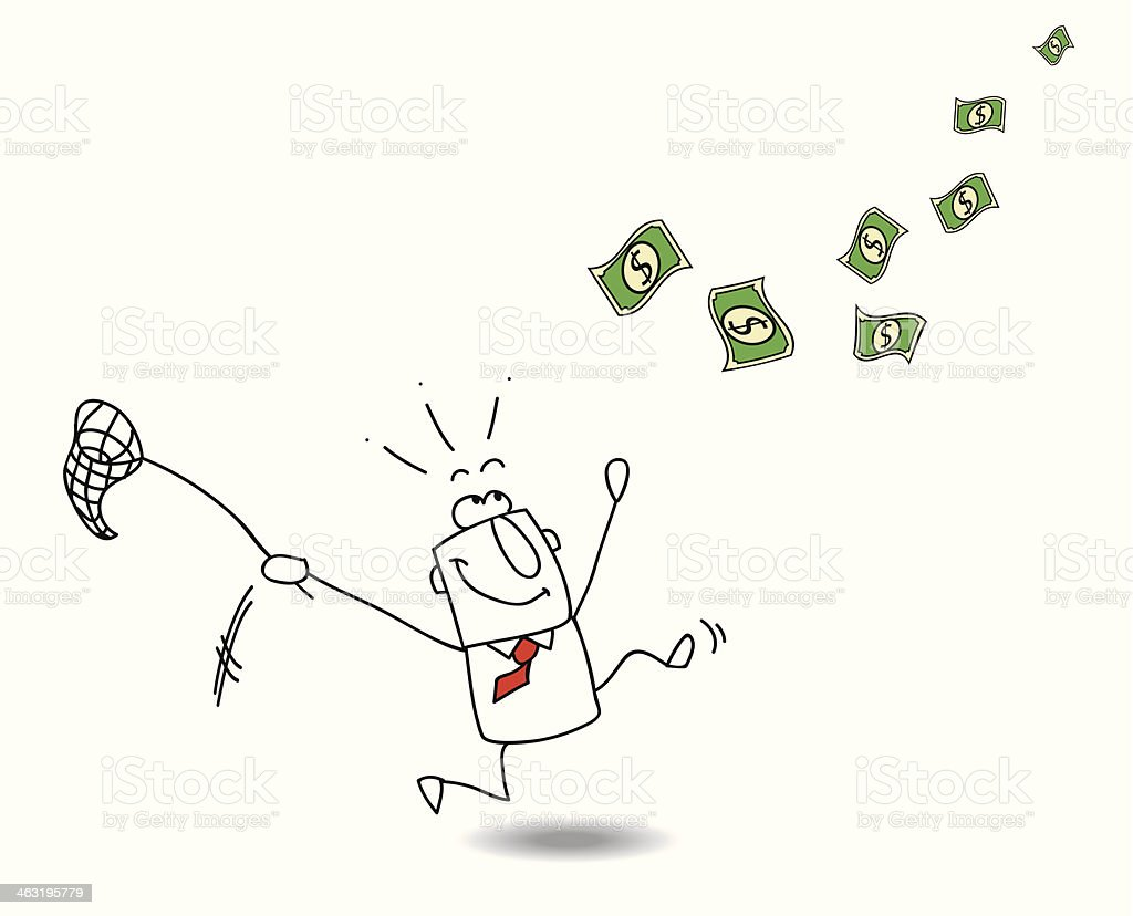 Cartoon man with net trying to catch money vector art illustration