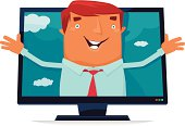 Cartoon man with outspread arms on TV screen