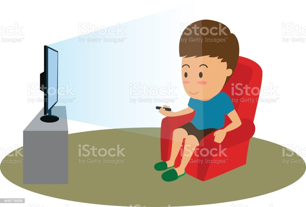 cartoon man with remote watching tv on sofa vector illustration
