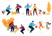 Cartoon People Character in Park Vector Illustration. Man Woman Play with Dog. Family Walk Mother Daughter Son Father. Children Jump Game with Ball. Autumn Season Outdoors. Activity Nature Leisure