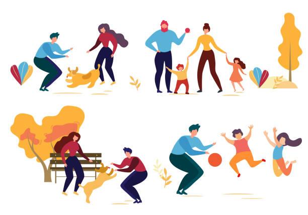 ilustraciones, imágenes clip art, dibujos animados e iconos de stock de cartoon man mujer perro personaje de la familia en park - hija