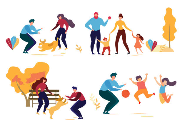 Cartoon Man Woman Dog Family Character in Park Cartoon People Character in Park Vector Illustration. Man Woman Play with Dog. Family Walk Mother Daughter Son Father. Children Jump Game with Ball. Autumn Season Outdoors. Activity Nature Leisure parenting stock illustrations