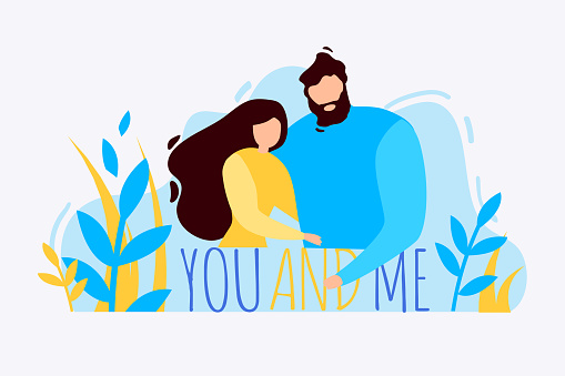 Cartoon Man Woman Hug You and Me Outdoor Banner