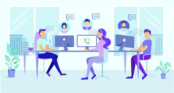 stockillustraties, clipart, cartoons en iconen met cartoon man vrouw in hoofdtelefoon antwoord client call - klantenservice