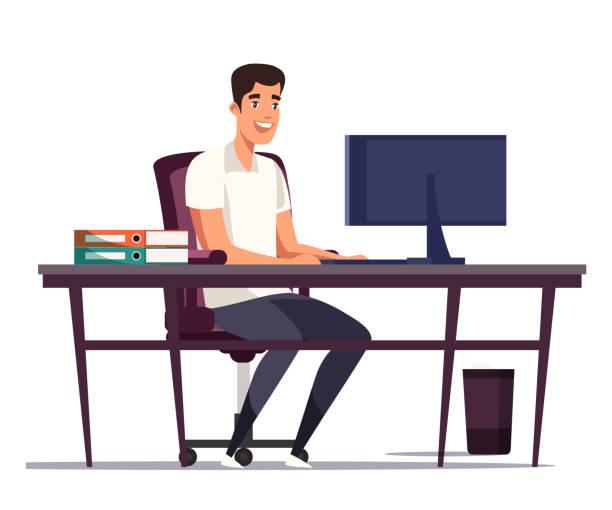 bildbanksillustrationer, clip art samt tecknat material och ikoner med tecknad man worker skriva på datortangentbord - man architect computer