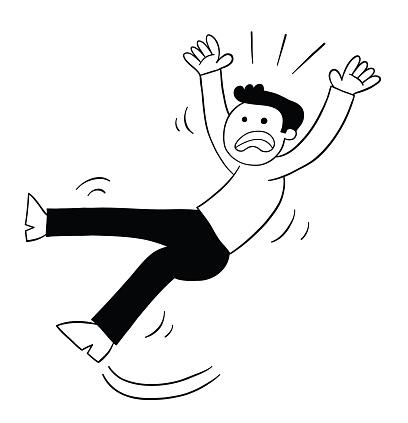Cartoon man's foot slipped, vector illustration
