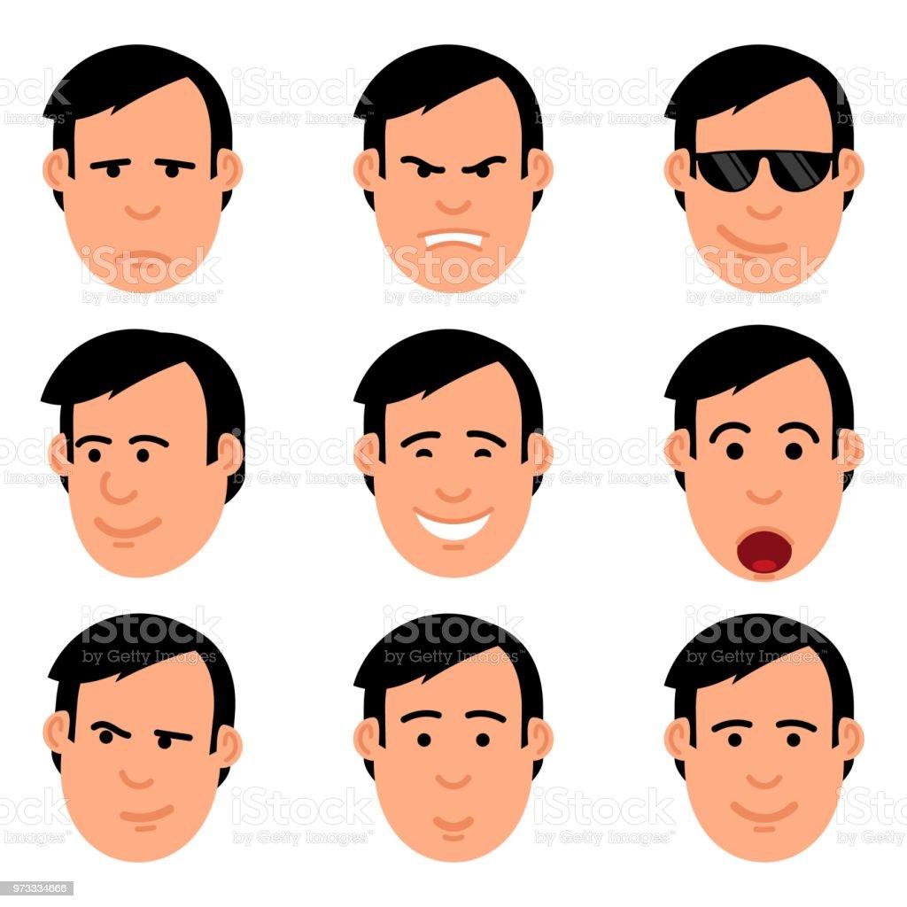 Cartoon man's head set of emoji vector art illustration