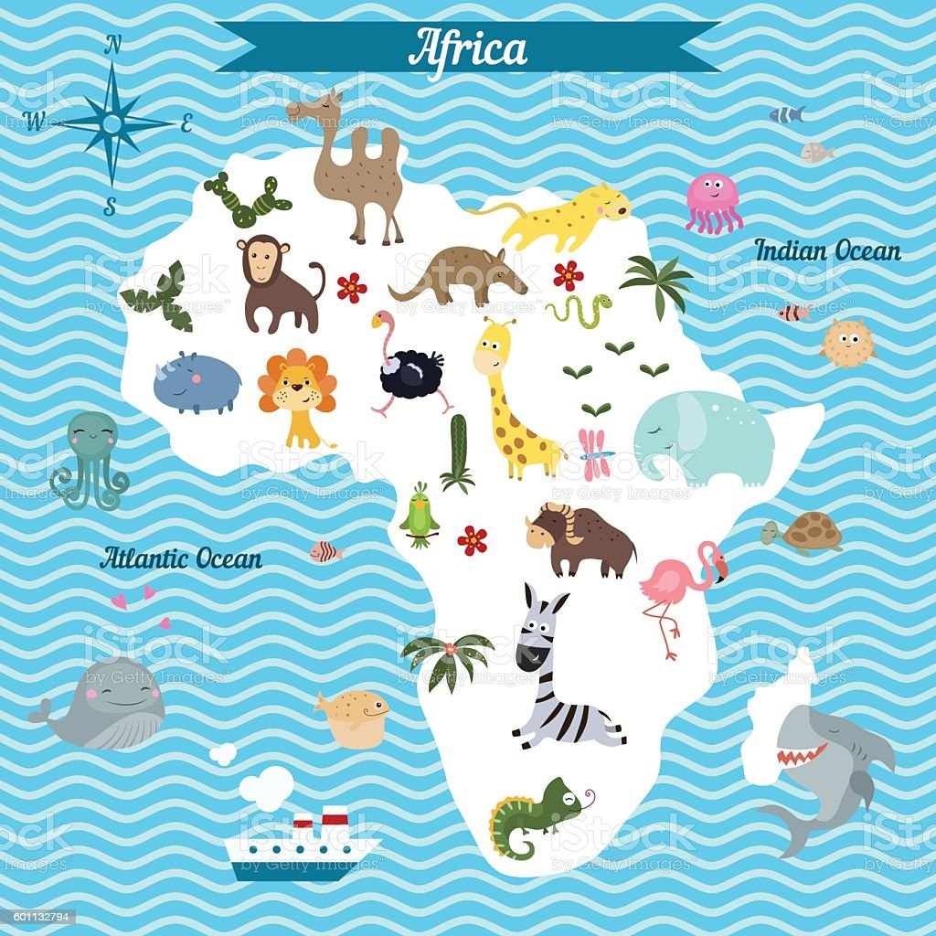 cartoon map of africa continent with different animals royalty free cartoon map of africa